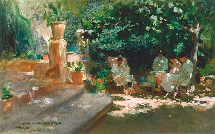 Mujeres en el jardín, obra de Cecilio Pla (c. 1910)